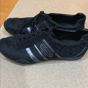 Coach black signature tennis shoes